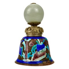 Antique Chinese Enameled Bell- Silver on Copper with peking glass finial