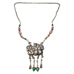 Chinese Silver Qilin Amulet Beaded Necklace