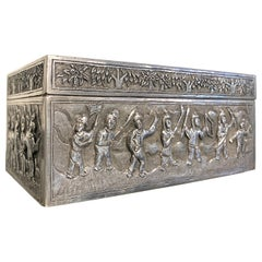 Chinese Silver Repoussé Box with Warriors, Early 20th Century, China