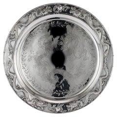 Chinese Silver Salver Tray, Cum Wo, Hong Kong, circa 1890