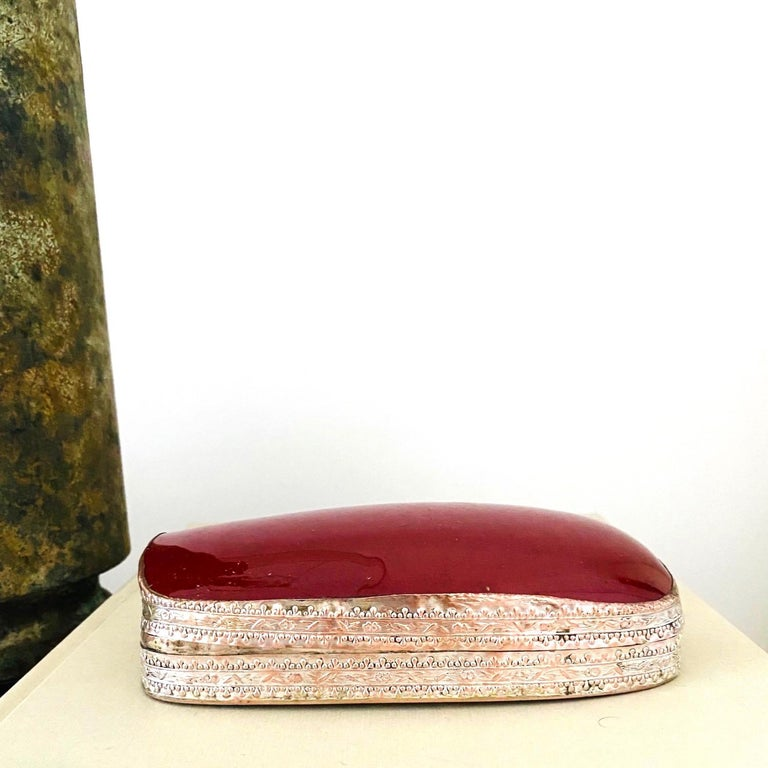 Chinese Silver Trinket Box with Antique Oxblood Porcelain Inset, c. 1945 For Sale 4