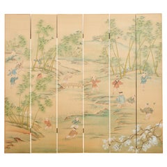 Chinese Six Panel Hand-Painted Silk Wallpaper Screen