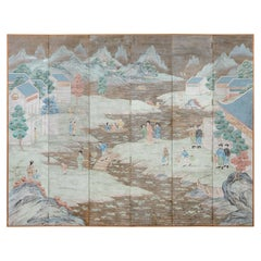Chinese Six Panel Hand-Painted Silver Leaf Wallpaper Screen