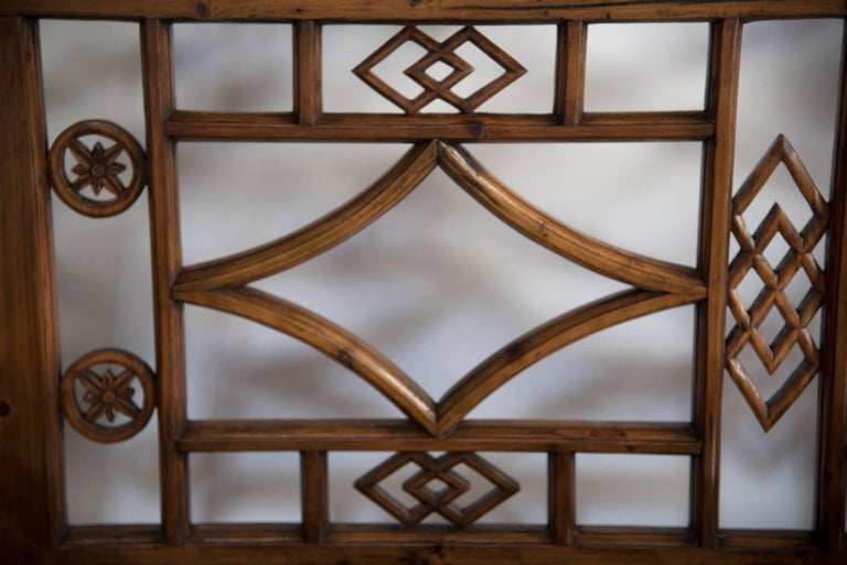 Chinoiserie Chinese Six-Panel Lattice Screen For Sale