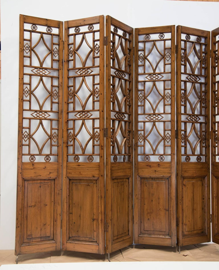 Carved Chinese Six-Panel Lattice Screen For Sale