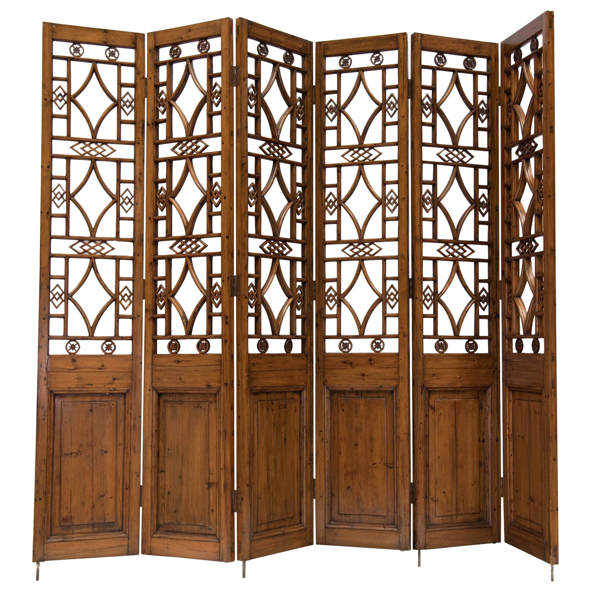 CHINESE 6-PANEL Sculptured Wooden Lattice Room Divider/Screen