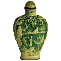 Chinese Snuff Bottle Deeply Carved with 4-Character Mark to Base, circa 1930