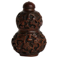 Chinese Snuff Bottle Gourd Shape Hand Carved Boxwood with Spoon, 19th Century