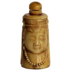 Chinese Snuff Bottle Guanyin Buddhist Deity Hand Carved Bovine Bone, circa 1930s