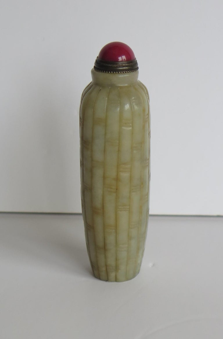 Hand-Carved Chinese Snuff Bottle Hand Carved Natural Serpentine Stone Spoon Top, circa 1920 For Sale