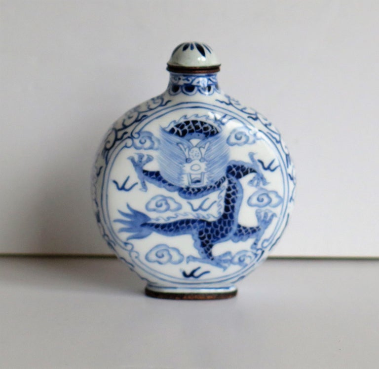 Chinese Snuff Bottle Hand Enamelled Blue and White Dragon on Copper, circa 1940s For Sale 5