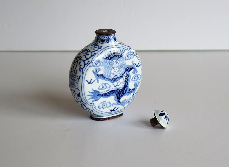Chinese Snuff Bottle Hand Enamelled Blue and White Dragon on Copper, circa 1940s For Sale 9