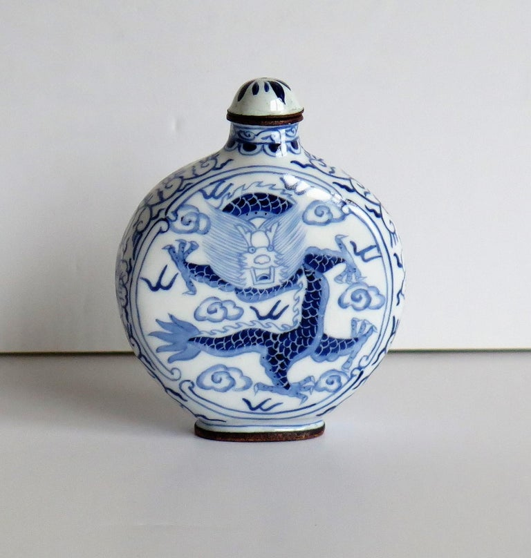Enameled Chinese Snuff Bottle Hand Enamelled Blue and White Dragon on Copper, circa 1940s For Sale