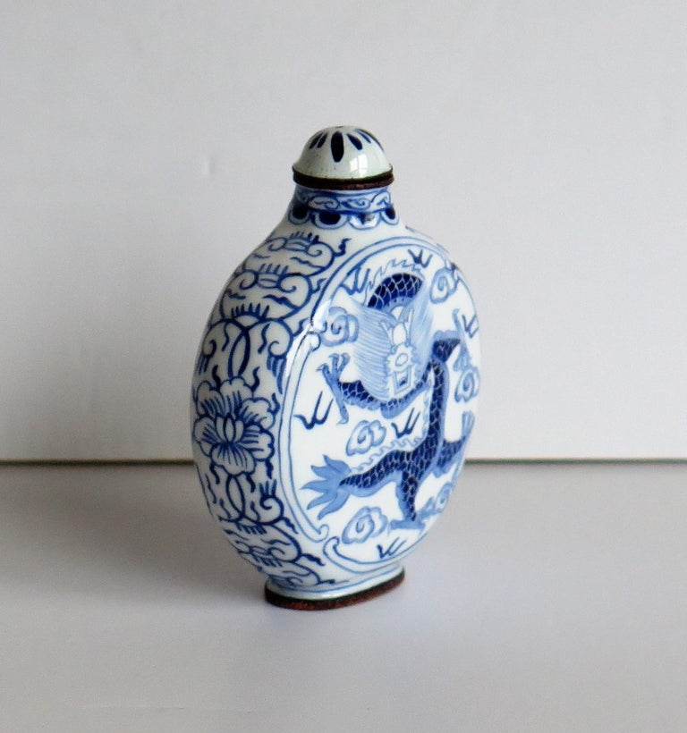 20th Century Chinese Snuff Bottle Hand Enamelled Blue and White Dragon on Copper, circa 1940s For Sale
