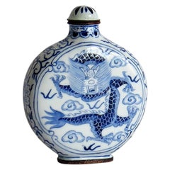 Chinese Snuff Bottle Hand Enamelled Blue and White Dragon on Copper, circa 1940s