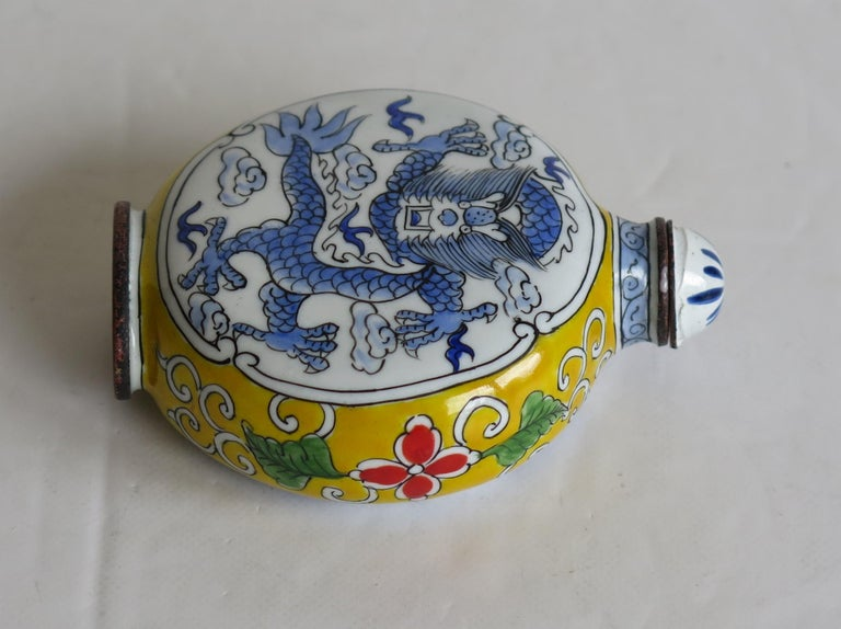 Chinese Snuff Bottle Hand Enamelled Dragon on Copper 4-Cha'r Mark, circa 1940s For Sale 4