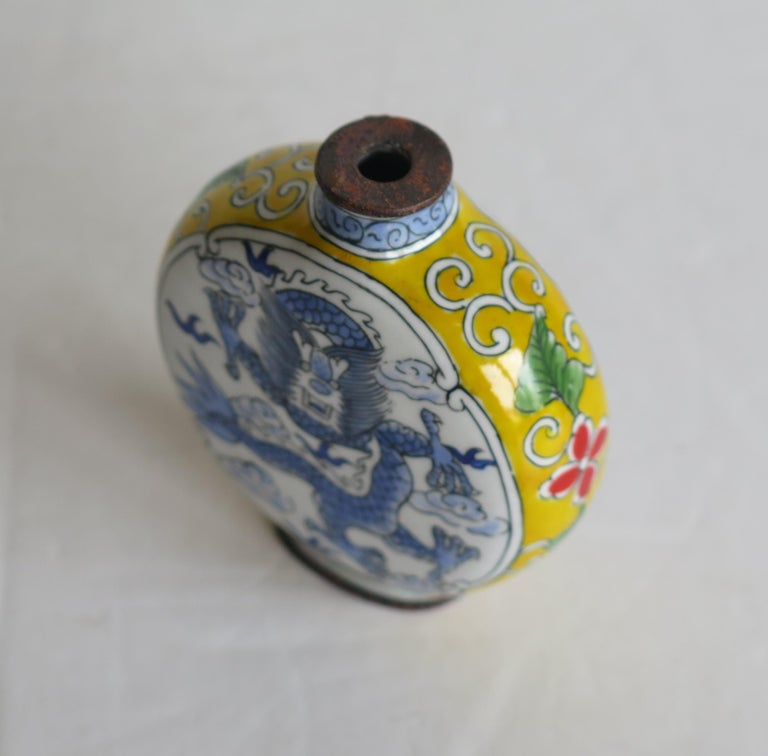 Chinese Snuff Bottle Hand Enamelled Dragon on Copper 4-Cha'r Mark, circa 1940s For Sale 5