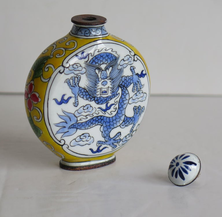 Chinese Snuff Bottle Hand Enamelled Dragon on Copper 4-Cha'r Mark, circa 1940s For Sale 7
