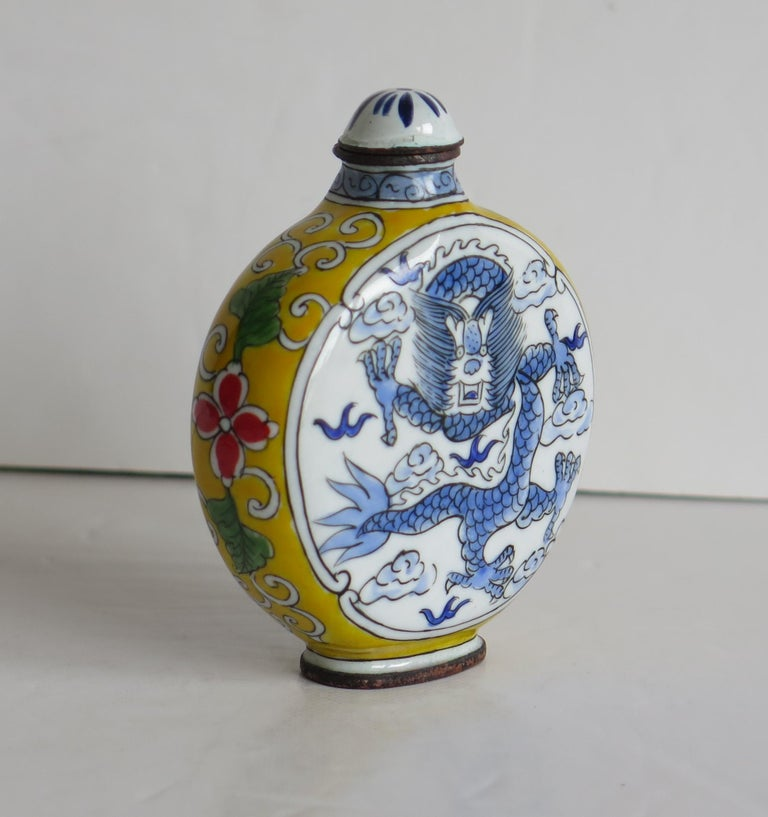 Qing Chinese Snuff Bottle Hand Enamelled Dragon on Copper 4-Cha'r Mark, circa 1940s For Sale