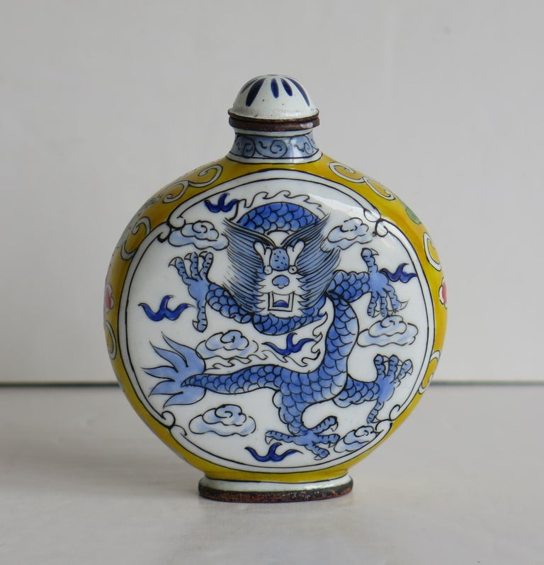 Enameled Chinese Snuff Bottle Hand Enamelled Dragon on Copper 4-Cha'r Mark, circa 1940s For Sale