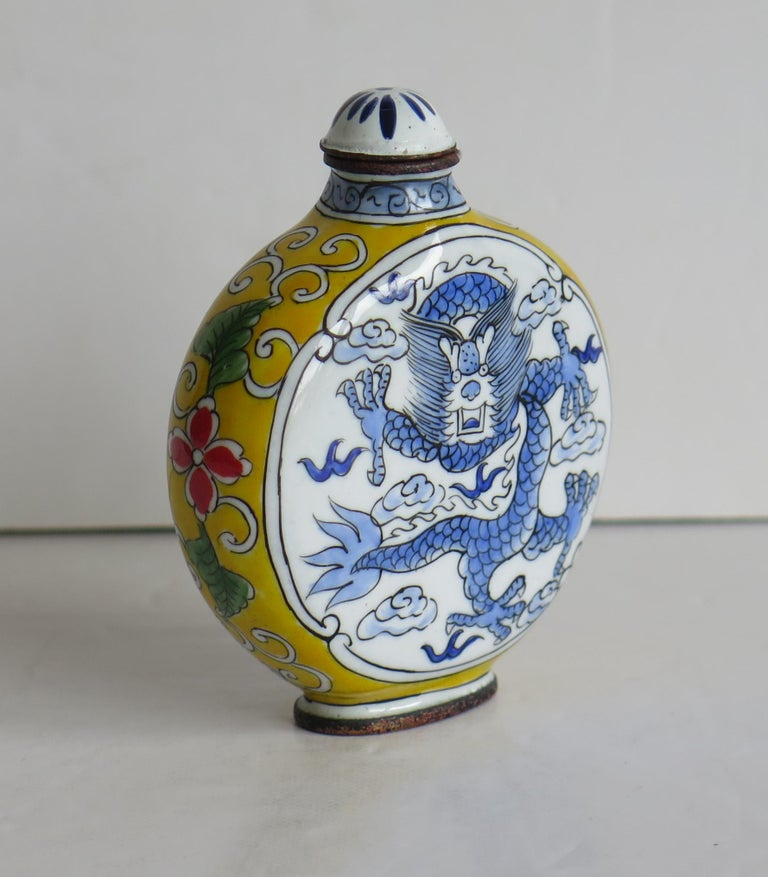 Chinese Snuff Bottle Hand Enamelled Dragon on Copper 4-Cha'r Mark, circa 1940s For Sale 1