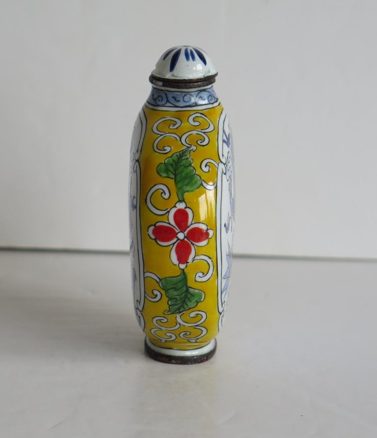 Chinese Snuff Bottle Hand Enamelled Dragon on Copper 4-Cha'r Mark, circa 1940s For Sale 2