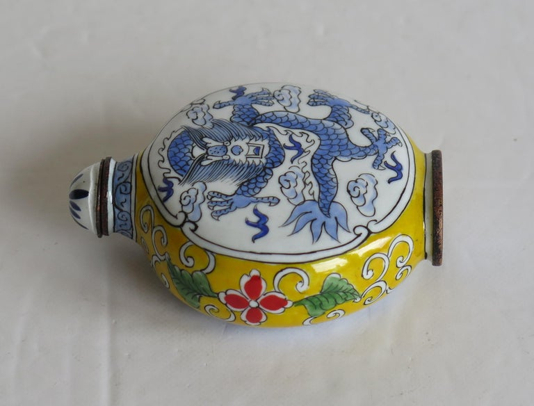 Chinese Snuff Bottle Hand Enamelled Dragon on Copper 4-Cha'r Mark, circa 1940s For Sale 3