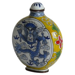 Chinese Snuff Bottle Hand Enamelled Dragon on Copper 4-Cha'r Mark, circa 1940s