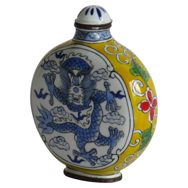 Chinese Snuff Bottle Hand Enamelled Dragon on Copper 4-Cha'r Mark, circa 1940s For Sale