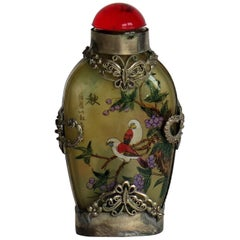 Chinese Snuff Bottle Miao Silver Cased Glass Finely Inside Painted