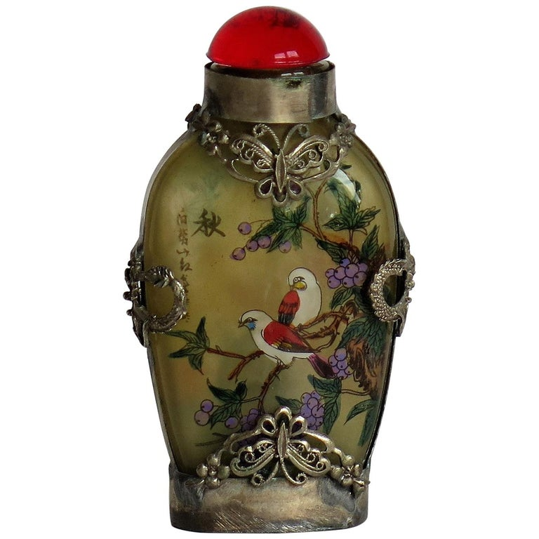 Chinese Snuff Bottle Miao Silver Cased Glass Finely Inside Painted For Sale