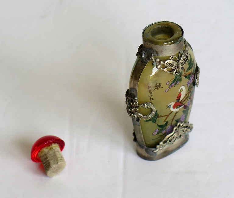 Chinese Snuff Bottle Miao Silver Cased Glass Finely Inside Painted For Sale 9
