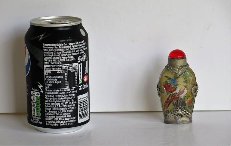 Chinese Snuff Bottle Miao Silver Cased Glass Finely Inside Painted For Sale 13