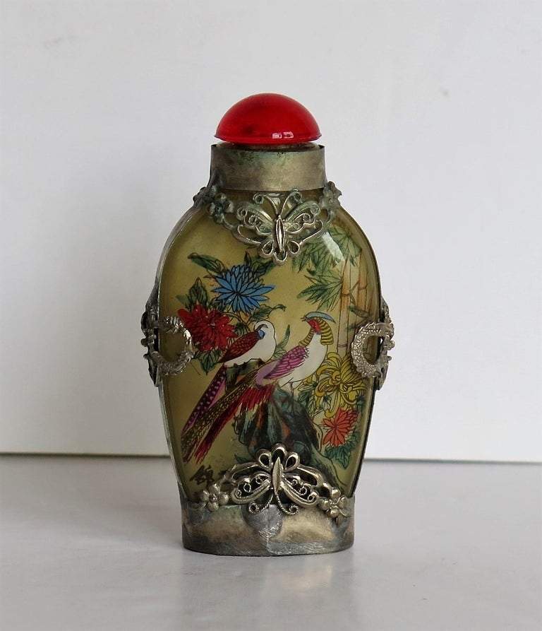 Chinese Export Chinese Snuff Bottle Miao Silver Cased Glass Finely Inside Painted For Sale