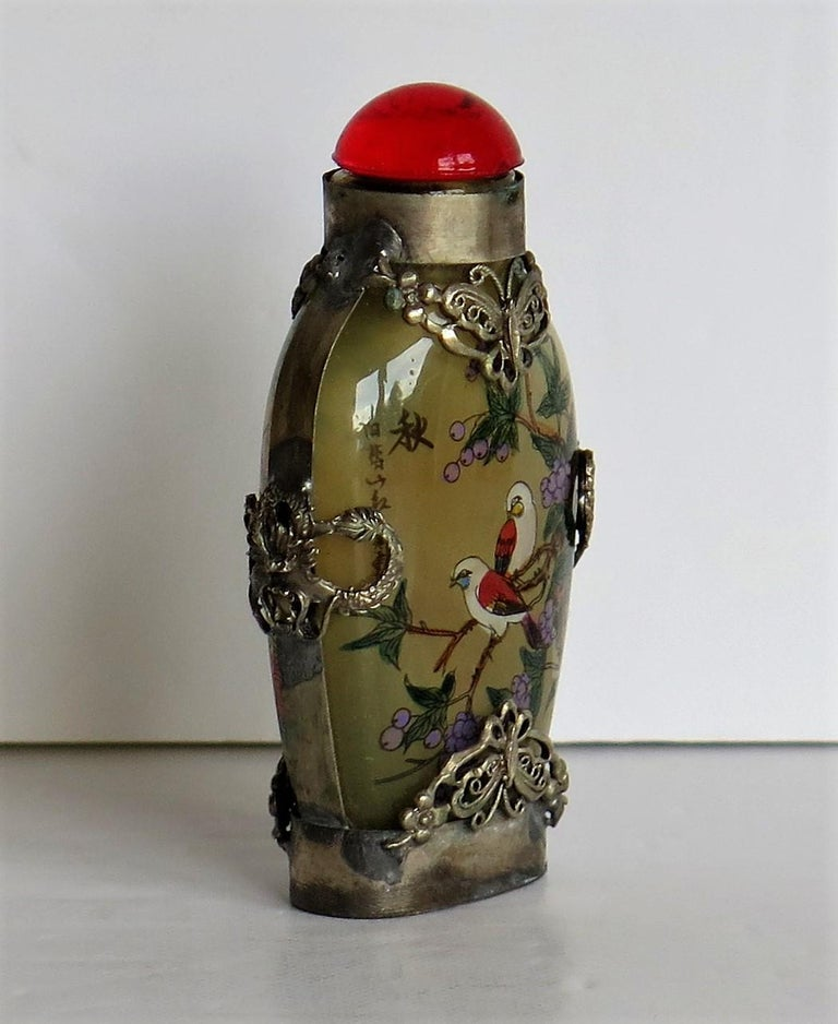 Hand-Crafted Chinese Snuff Bottle Miao Silver Cased Glass Finely Inside Painted For Sale
