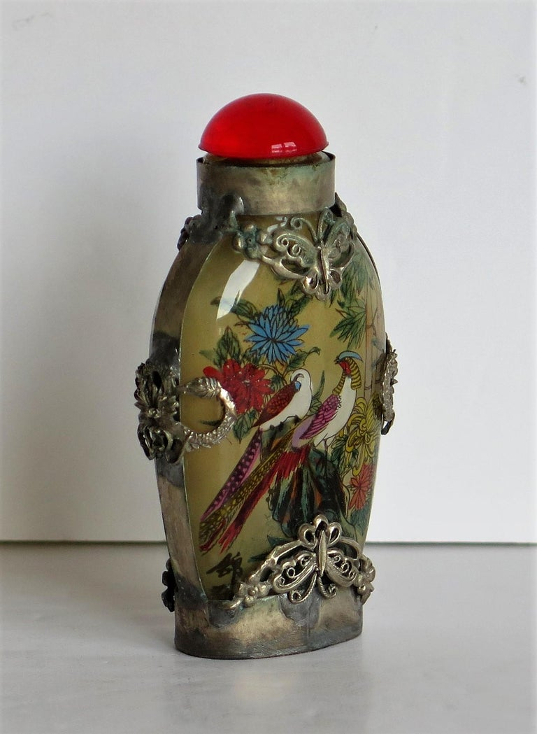 Chinese Snuff Bottle Miao Silver Cased Glass Finely Inside Painted For Sale 2