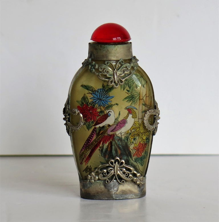 Chinese Snuff Bottle Miao Silver Cased Glass Finely Inside Painted For Sale 3
