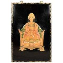 Chinese Soap Stone Picture in Japanned Frame, circa 1930s-1940s