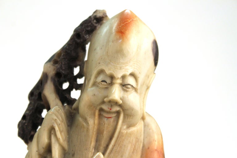 Chinese Soapstone Carving of an Old Man For Sale 2
