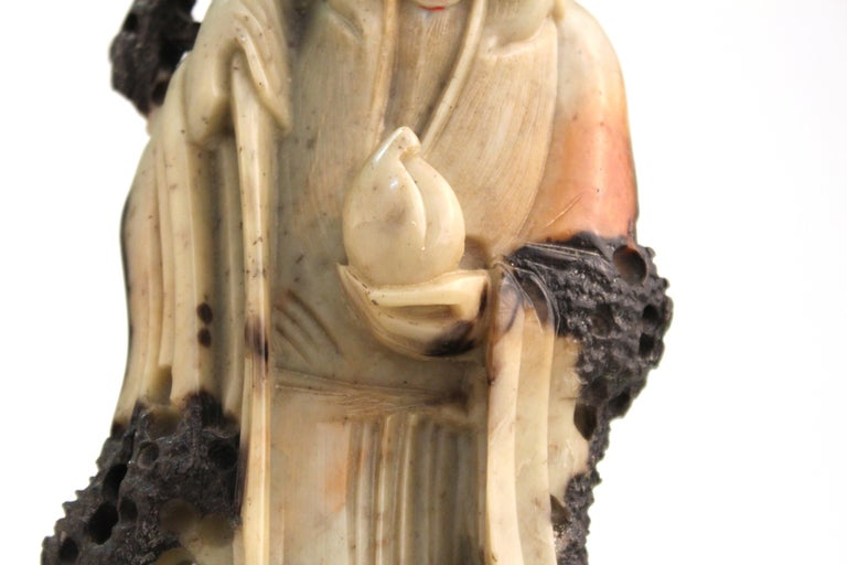 Chinese Soapstone Carving of an Old Man For Sale 3