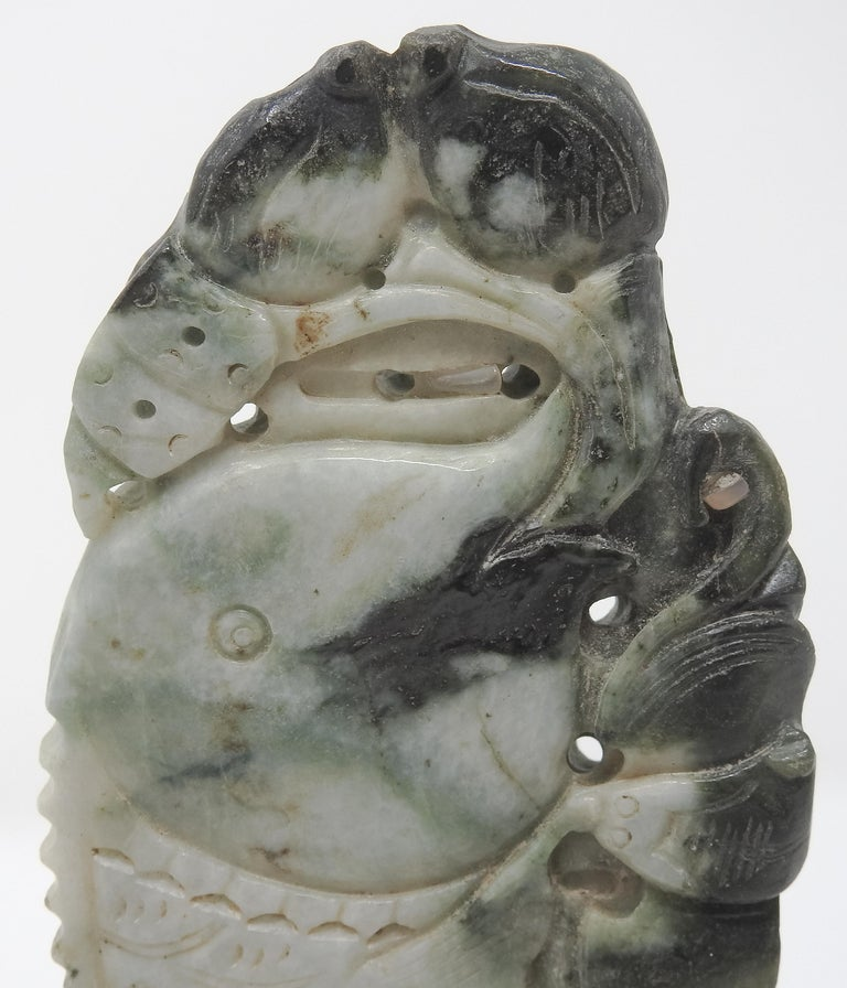 Chinese Soapstone Carving of Koi Fish on Stone Base In Fair Condition For Sale In Cookeville, TN