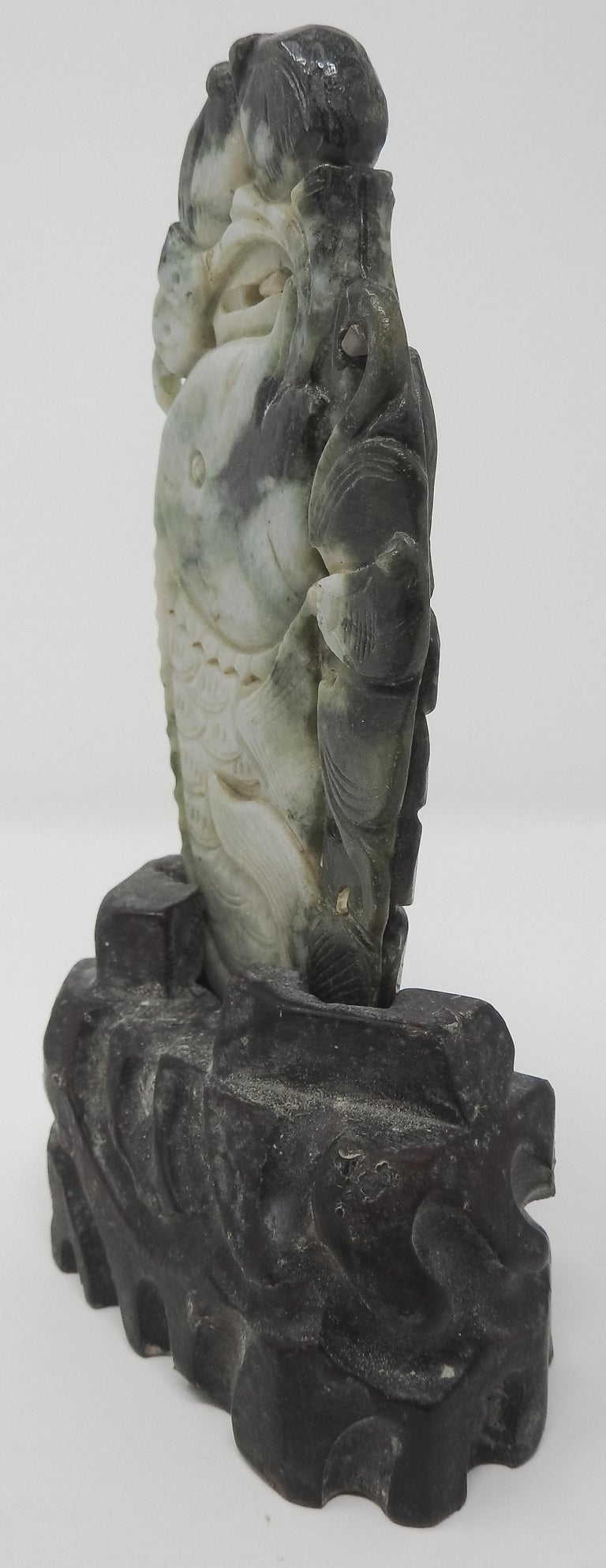 20th Century Chinese Soapstone Carving of Koi Fish on Stone Base For Sale