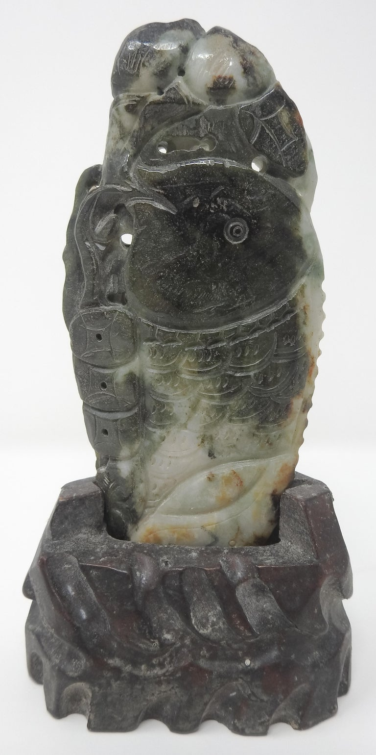 Chinese Soapstone Carving of Koi Fish on Stone Base For Sale 2