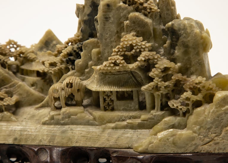 Chinese Soapstone Carving of Landscape For Sale 5