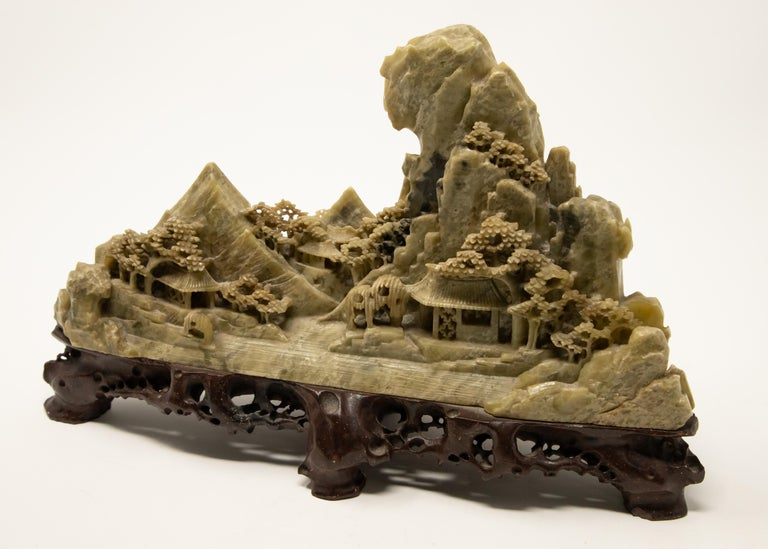 Folk Art Chinese Soapstone Carving of Landscape For Sale