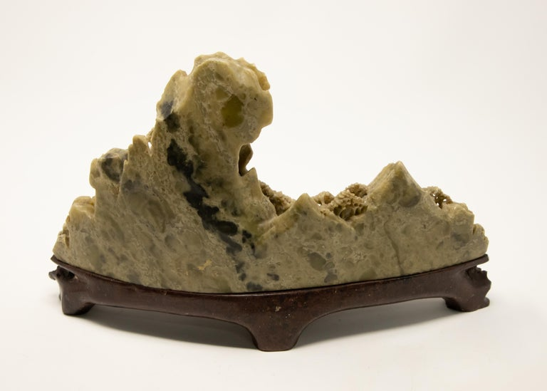 Chinese Soapstone Carving of Landscape In Fair Condition For Sale In Cookeville, TN