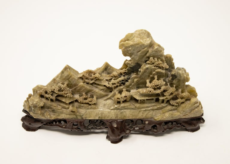 Chinese Soapstone Carving of Landscape For Sale 1