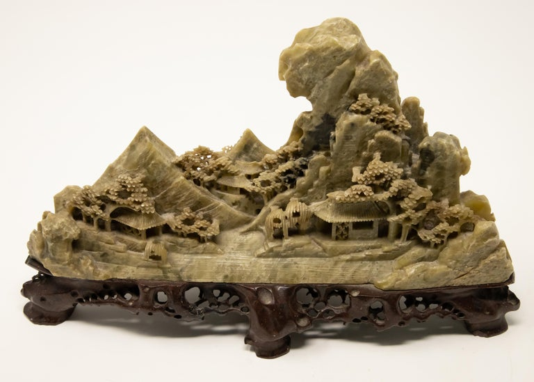 Chinese Soapstone Carving of Landscape For Sale 3