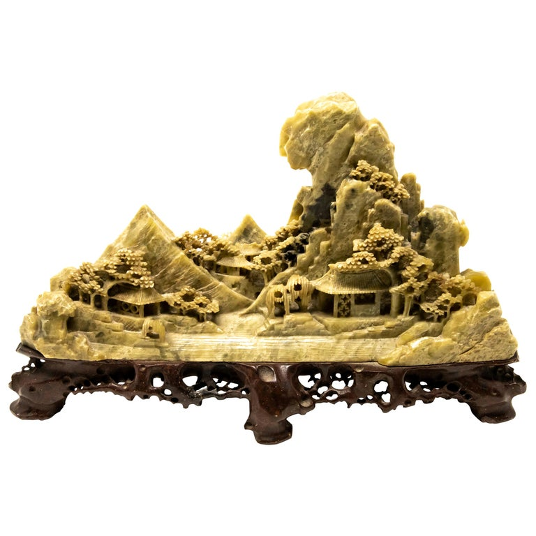 Chinese Soapstone Carving of Landscape For Sale
