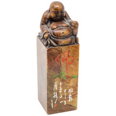 Chinese Soapstone Chop Seal with Shoushan Buddha